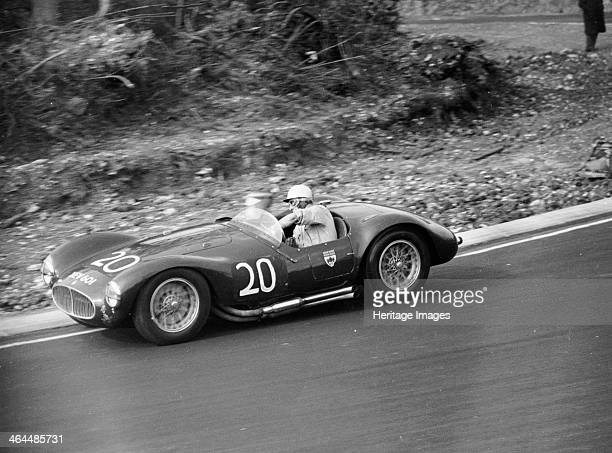 Roy Salvadori driving a 1953 Maserati at Brands Hatch Kent 1954 He began racing in 1947 and graduated to Formula 1 driving among others a 2 litre...