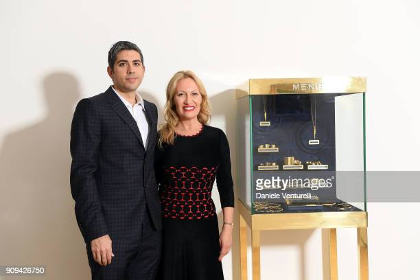 Roy Sebag and Diana Widmaier Picasso attend Mene 24 Karat Jewelry Presentation at Gagosian Gallery on January 23 2018 in Paris France