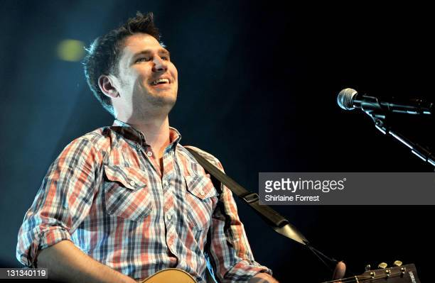 Roy Stride of Scouting For Girls peforms at MEN Arena on April 9, 2011 in Manchester, England.