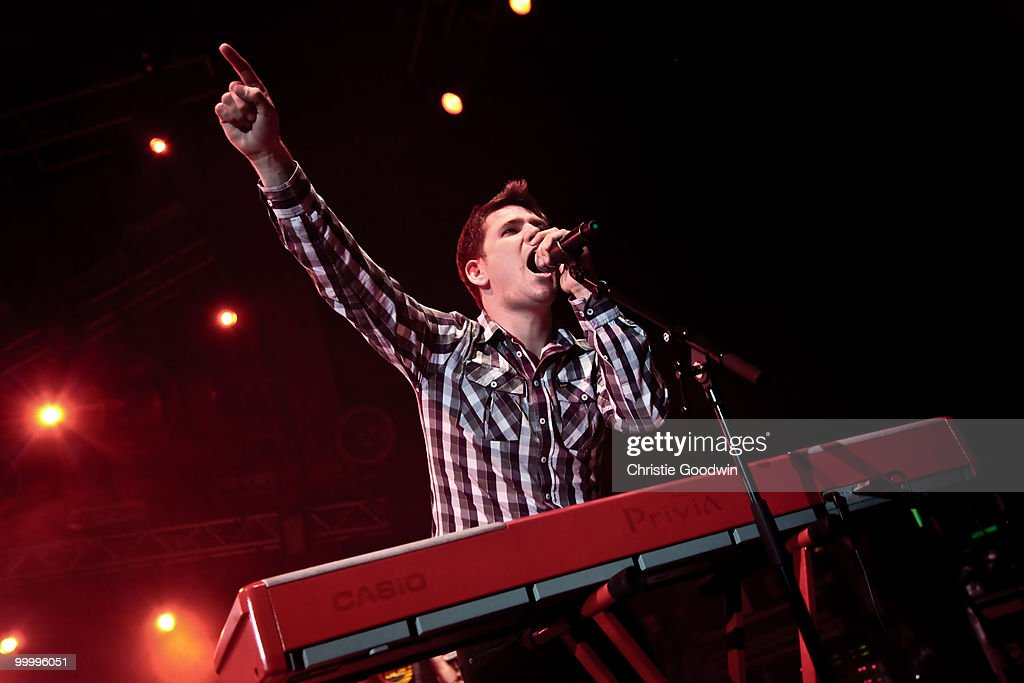 Roy Stride of Scouting For Girls performs on stage at Hammersmith Apollo on May 19, 2010 in London, England.