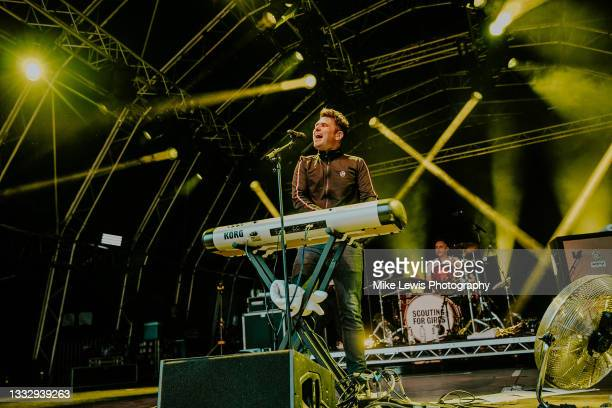 Roy Stride of Scouting For Girls performs on stage at The Bath Festival Finale at Recreation Ground on August 07, 2021 in Bath, England.