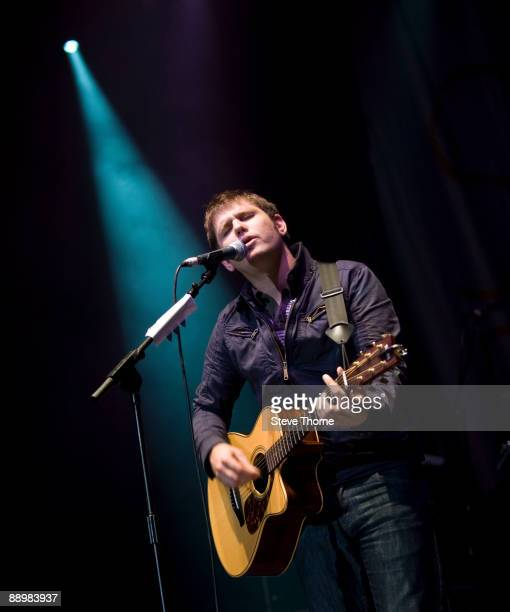 Roy Stride of Scouting For Girls performs on stage on the first day of Cornbury Festival on July 11 2009 near Charlbury United Kingdom