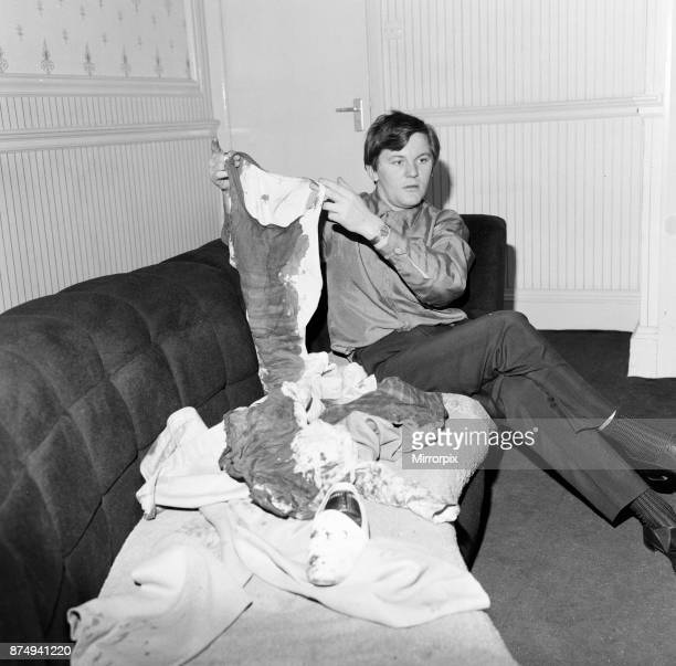 Roy Tempest Theatrical Agent London 15th November 1964 Pictured with blooded clothing at his flat in Upper Wimpole Street Marylebone London He...