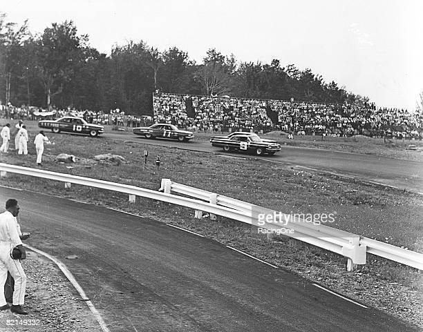 Roy Tyner leads Ned Jarrett and Bernie Alvarez at Watkins Glen in 1964 Billy Wade won making it four straight for him on the NASCAR Cup Series tour a...