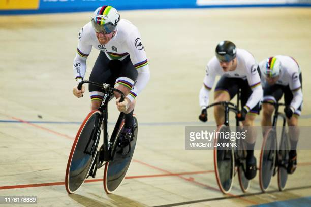 Roy van den Berg, Harrie Lavreysen and Matthijs Buchli of The Netherlands rides during the qualification in the Men's Team Sprint at the European...