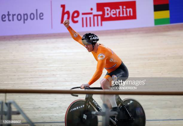 Roy van den Berg of the Netherland's team celebrate the new world record in the men's Team Sprint at the UCI track cycling World Championship in...