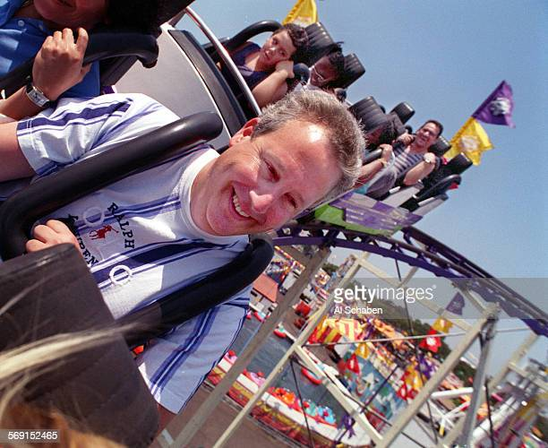 MESA––Roy Wells of Long Beach is all smiles as he rides the 'Looping Star' roller coaster ride Saturday at the Orange County Fair in Costa Mesa
