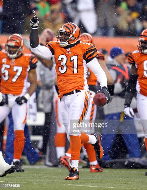 Roy Williams of the Cincinnati Bengals celebrates after recovering a fumble during the NFL game against the San Diego Chargers at Paul Brown Stadium...