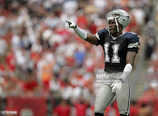 Roy Williams of the Dallas Cowboys motions to the Cowboys fans in the stands during the game between the Dallas Cowboys and the Tampa Bay Buccaneers...