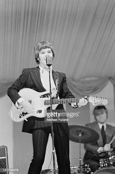 Roy Wood and Bev Bevan performing with The Move at the Windsor National Jazz and Blues Festival UK 30th July 1966 Wood is playing a Fender Jaguar...