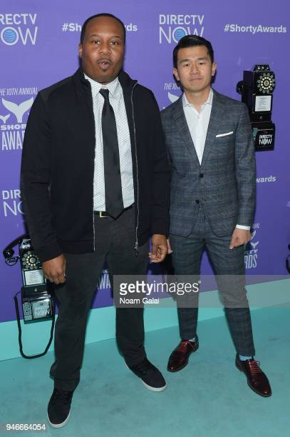 Roy Wood Jr and Ronny Chieng attend the 10th Annual Shorty Awards at PlayStation Theater on April 15 2018 in New York City
