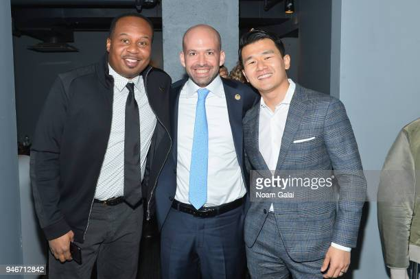 Roy Wood Jr Greg Galant and Ronny Chieng pose backstage during the 10th Annual Shorty Awards at PlayStation Theater on April 15 2018 in New York City