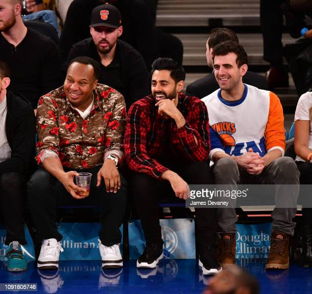 Roy Wood Jr Hasan Minhaj and guest attend Dallas Mavericks v New York Knicks game at Madison Square Garden on January 30 2019 in New York City