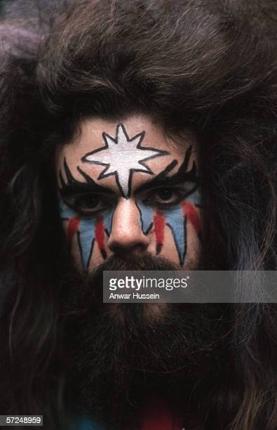 Roy Wood of Wizzard in his customary face paint and wild hair circa 1975