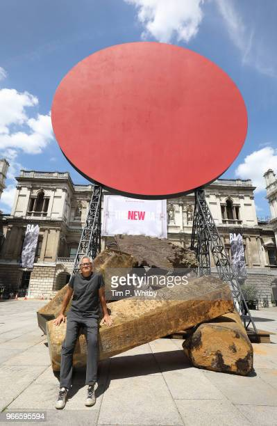 Royal Academician Sir Anish Kapoor with his monumental work 'Symphony for a Beloved Daughter' in the Annenberg Courtyard as part of the 250th Summer...