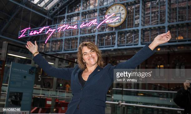 Royal Academician Tracey Emin unveils 'I Want My Time With You 2018' this year's Terrace Wires installation at St Pancras International station on...