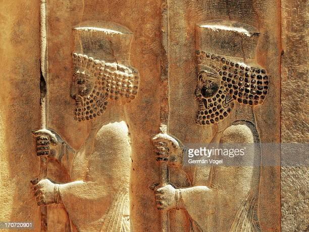 Royal Achaemenid sepah soldiers on stone
