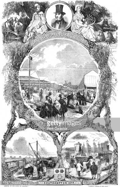 Royal Agricultural Society of England; arrival of the cattle by railway; landing cattle at the quay, 1844. Agricultural show at Southampton. From...