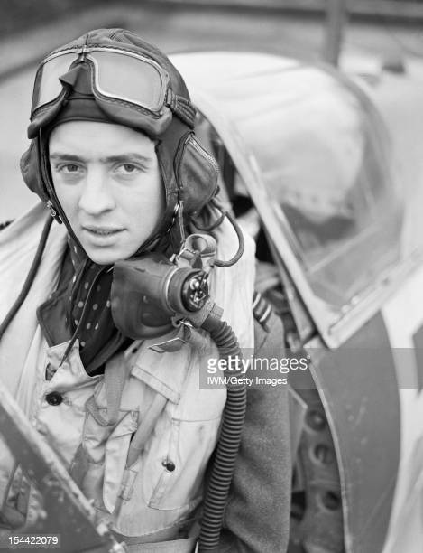Royal Air Force 1939-1945: Fighter Command, Wing Commander Richard 'Dickie' Milne, wing leader at Biggin Hill, in the cockpit of his Spitfire IX,...