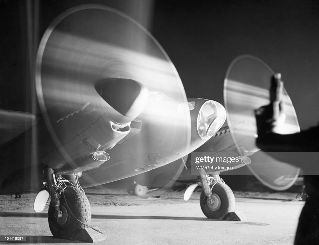 2nd Tactical Air Force, 1943-1945, A De Havilland Mosquito PR Mark XVI of No. 140 Squadron RAF, warms up its engines in a dispersal at B58/Melsbroek, Belgium, before taking off on a night photographic-reconnaissance sortie, 15 February 1945.