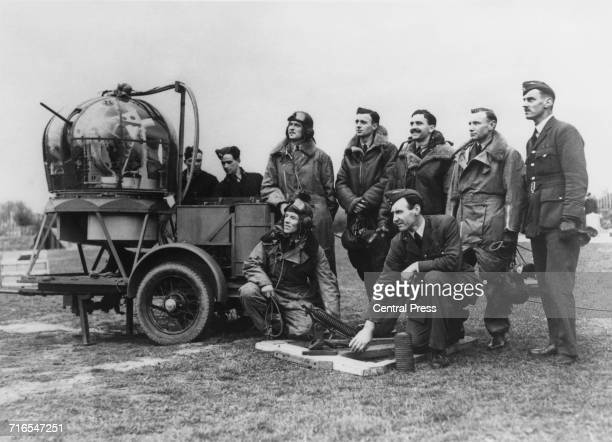 Royal Air Force air gunner trainees under instruction in clay pigeon shooting during firing practice from the machine gun turret at the Hells Mouth...