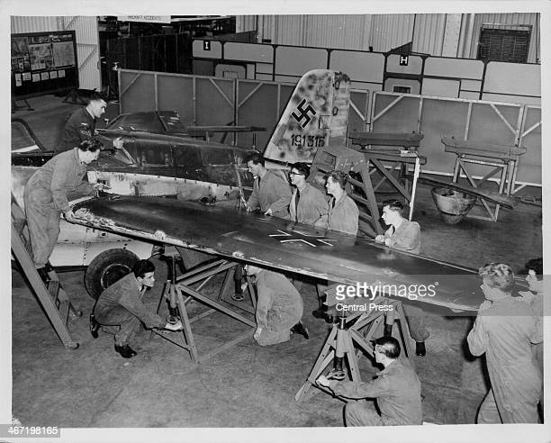 Royal Air Force apprentices reconstruct one of the first Messerschmitt 163 Komet aircraft following the end of World War Two for display in London...