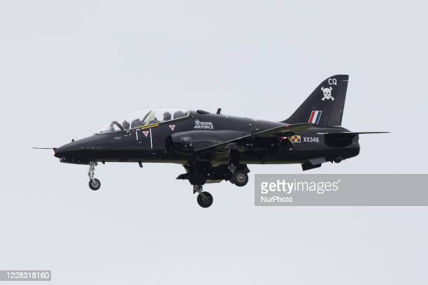 Royal Air Force BAE Hawk T1 lands at Newcastle International Airport, Northumberland, on July 17, 2020.