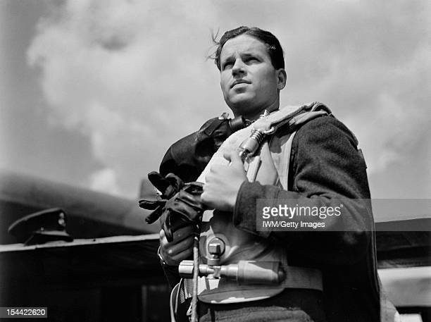 Royal Air Force Bomber Command 19421945 Halflength portrait of Wing Commander Guy Gibson while Commanding Officer of No 617 Squadron RAF wearing...