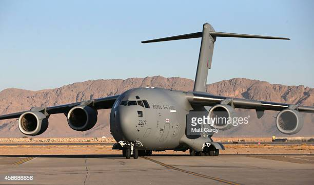 Royal Air Force C17 arrives carrying Prince Harry to meet British troops and service personal remaining in Afghanistan as they are joined by...