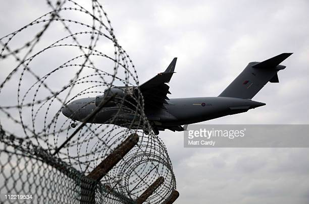 Royal Air Force C17 Globemaster comes into land at RAF Brize Norton on April 14 2011 in Brize Norton England The Oxfordshire airbase and the...