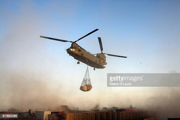 Royal Air Force Chinook helicopter delivers supplies to the British Paratroopers from the 2nd Battalion The Parachute Regiment on July 9 2008 in...