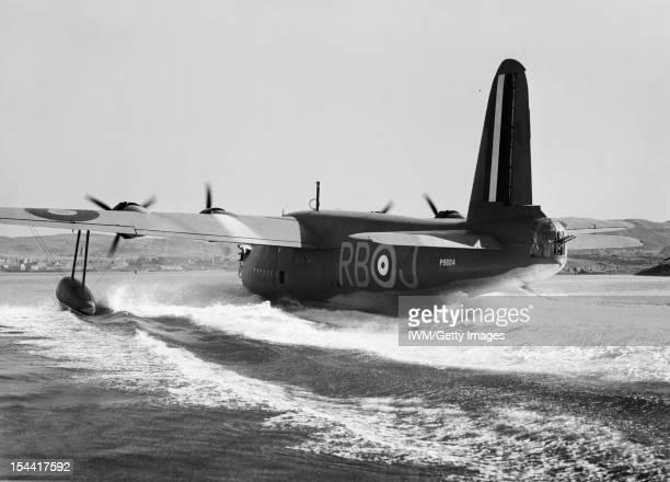 Royal Air Force Coastal Command 19391945 Short Sunderland Mark I P9604 'RBJ' of No 10 Squadron RAAF Detachment based at Oban Argyll about to take off...