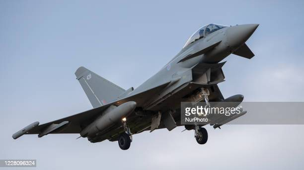 Royal Air Force Eurofighter Typhoon FGR4 descends into RAF Coningsby, UK on 5 August 2020.