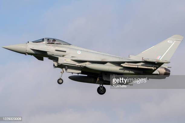 Royal Air Force Eurofighter Typhoon FGR4 returns to RAF Coningsby. Tuesday 20 October 2020.