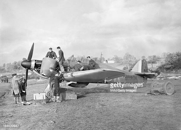 Royal Air Force Fighter Command 19391945 Hawker Hurricane Mk I P3886 'UFK' of No 601 Squadron RAF being serviced in a dispersal at Exeter November...