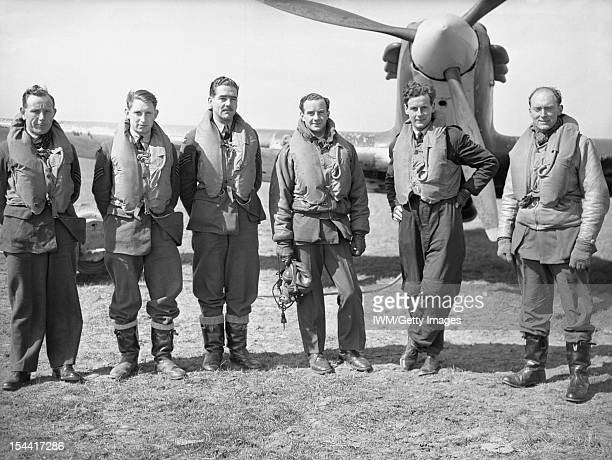 Royal Air Force Fighter Command, 1939-1945, Pilots of No 43 Squadron RAF based at Wick, Caithness, standing in front of one of the unit's Hawker...