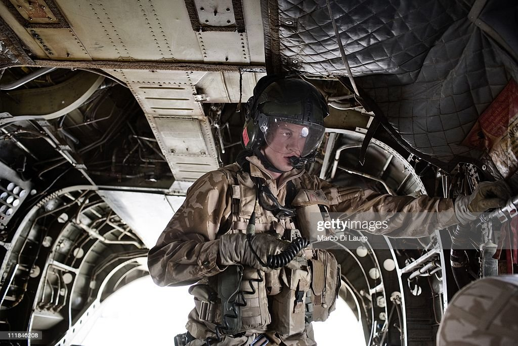 Royal Air Force loadmaster is seen on board of the MERT CH