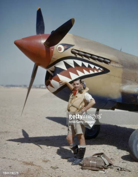 Royal Air Force Operations In The Middle East And North Africa 19391943 Flight Lieutenant A R Costello of No 112 Squadron RAF standing by the nose of...