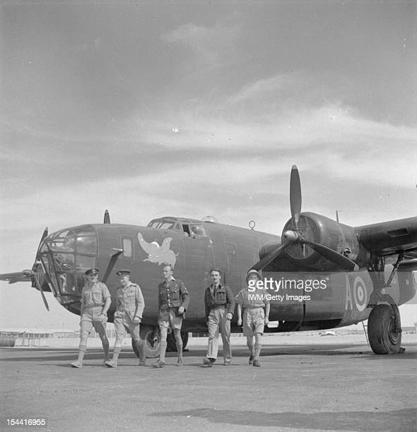 Operations In The Middle East And North Africa 19391943 The crew of Consolidated Liberator Mark II AL511 'A' of No 108 Squadron RAF walk from their...