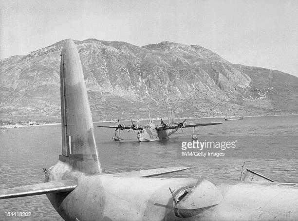 Operations Over Albania And In Greece, 1940-1941, Short Sunderland Mark Is of No 228 Squadron RAF , and No 230 Squadron, RAF , moored in Messinia Bay...
