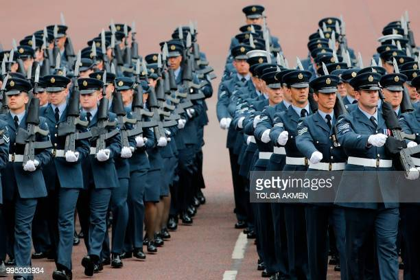 Royal Air Force personnel parade on the Mall toward Buckingham Palace in London on July 10 2018 during celebrations to mark its centenary The Queen...
