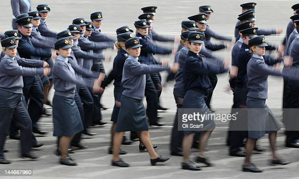 Royal Air Force personnel practice their drills in the parade ground at RAF Halton ahead of formal duties to celebrate the Diamond Jubilee of Her...