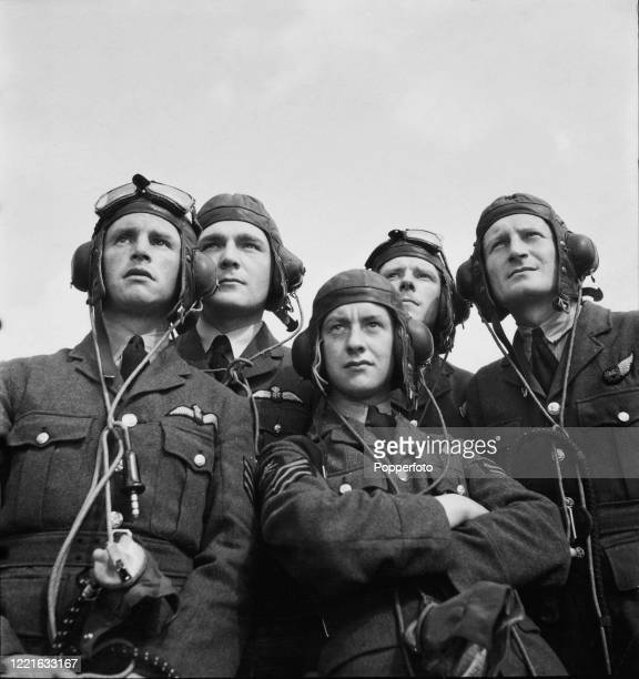 Royal Air Force pilots from No 58 Squadron RAF Bomber Command posed together at their base in England during World War II circa April 1940. The...