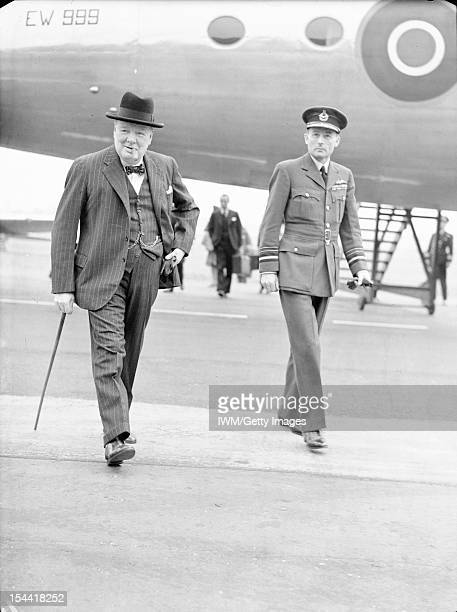 Royal Air Force Transport Command 19431945 The Prime Minister Winston Churchill accompanied by Air Marshal the Hon Sir Ralph Cochrane Air Officer...