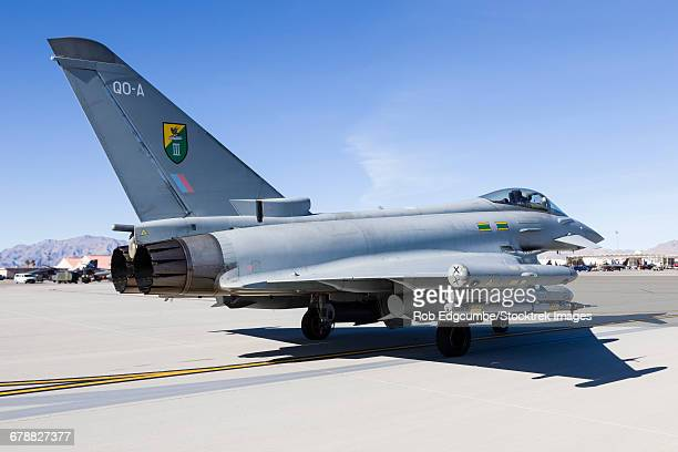 A Royal Air Force Typhoon fighter at Nellis Air Force Base, Nevada.