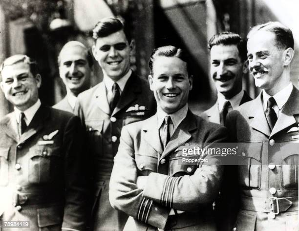 1940's RAF Wing Commander Guy Gibson VC at the investiture with other 'Dambusters' Gibson led the 1943 raid on the Moehne and Eder dams the famous...