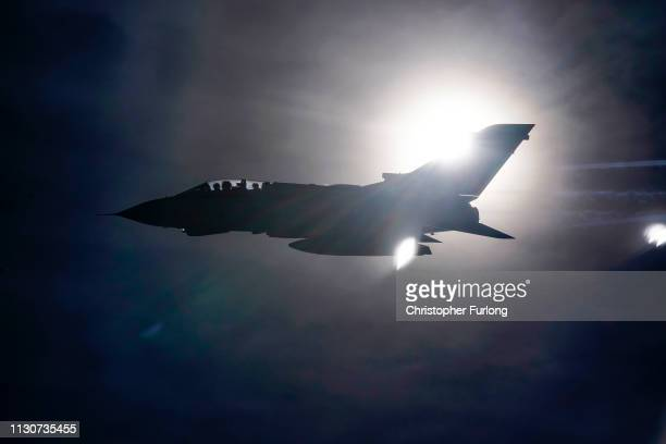 Royal Airforce Tornado GR4 fighter jet takes part in air to air refuelling during a farewell flypast over Britain on February 19 2019 in Oxford...