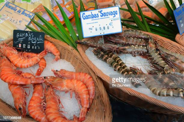 Royal and wild prawns at the Maubert Market in Paris, France.