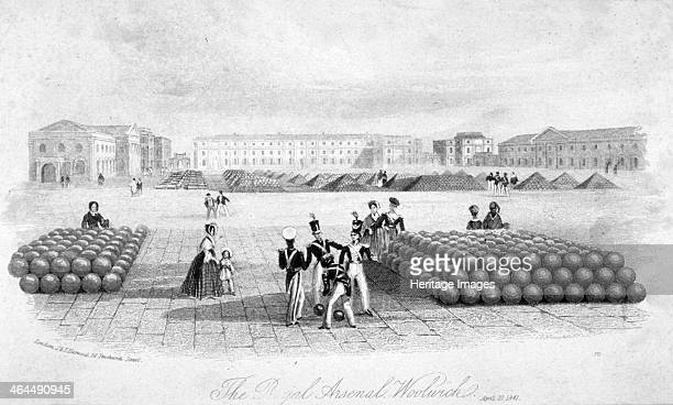 Royal Arsenal Woolwich Kent 1841 View showing soldiers and civilians examining cannon balls Established in the late 17th century Woolwich Arsenal was...