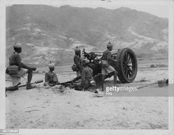 Royal artillery for the defense of occupied Hong Kong during World War Two circa 1941